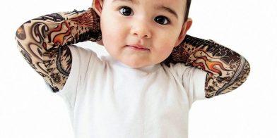 Stoere babykleding: een baby met een tattoo?